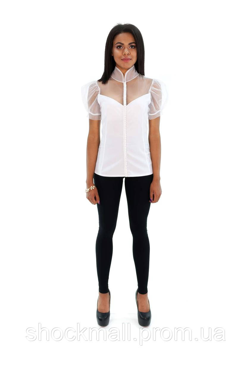 628313393023830 Блузка белая с прозрачными вставками