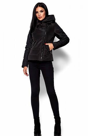 Женская демисезонная черная куртка Анри, р.42-48, фото 2