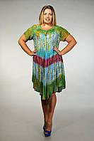 Платье - разлетайка (ламбада) с рукавом, салат. белый, голубой, коралл, на 52-60 размеры