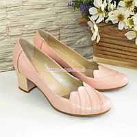 Туфли женские кожаные на невысоком каблуке, цвет пудра, фото 1