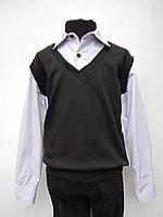 Обманка-рубашка с чёрной жилеткой на мальчиков 128,140,152 роста