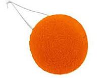 Нос клоунский поролоновый оранжевый. Карнавальный нос.