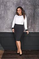 Женское платье черно-белое с брошью мод.7033-1     48+++