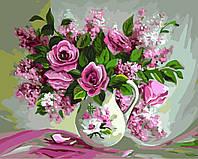 Картина по номерам Букет роз и сирени