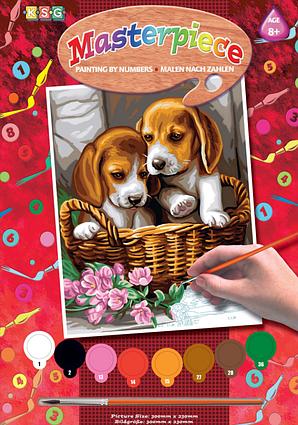 Набор для творчества Sequin Art PAINTING BY NUMBERS JUNIOR Basket of Puppies SA1042