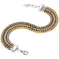 Женский браслет  с золотыми и серыми шариками из стали
