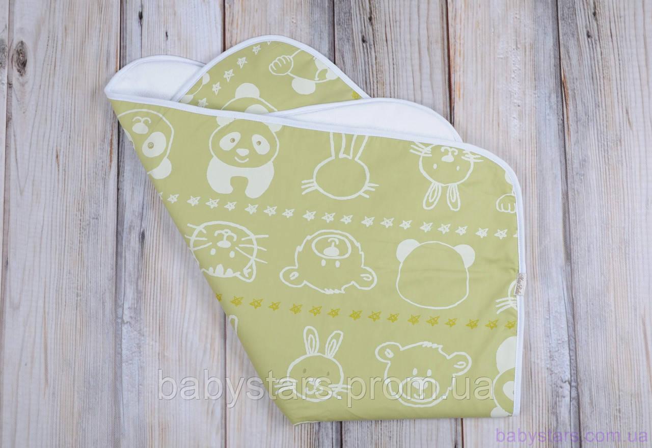 Непромокающая пеленка (размер 60*80 см), мишка и друзья салатовая