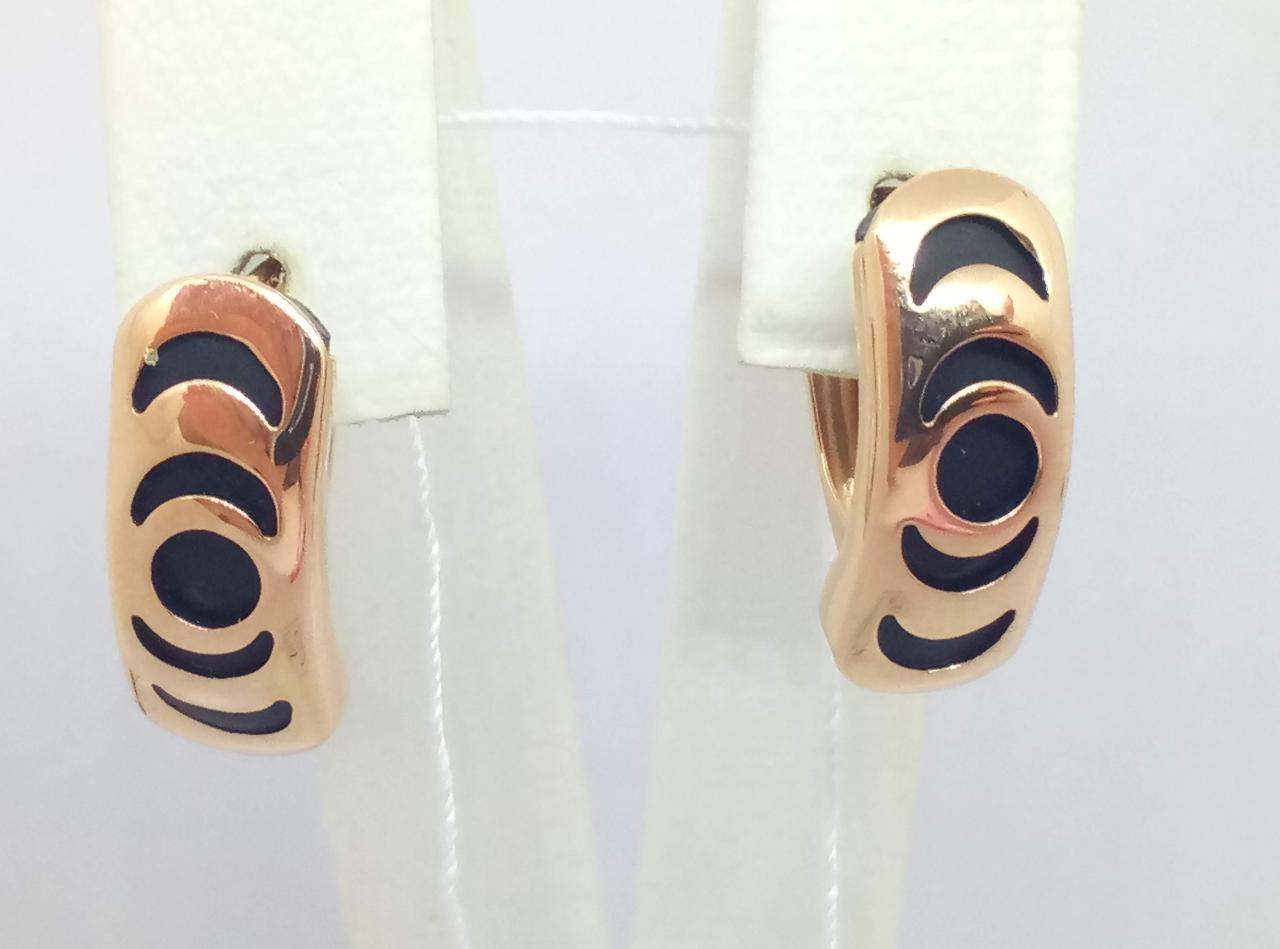 Золотые серьги с каучуком. Артикул 930015