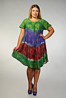 Платье - разлетайка (ламбада) с рукавом,зеленое, фиолетовое, коралловое, на 52-60 размеры