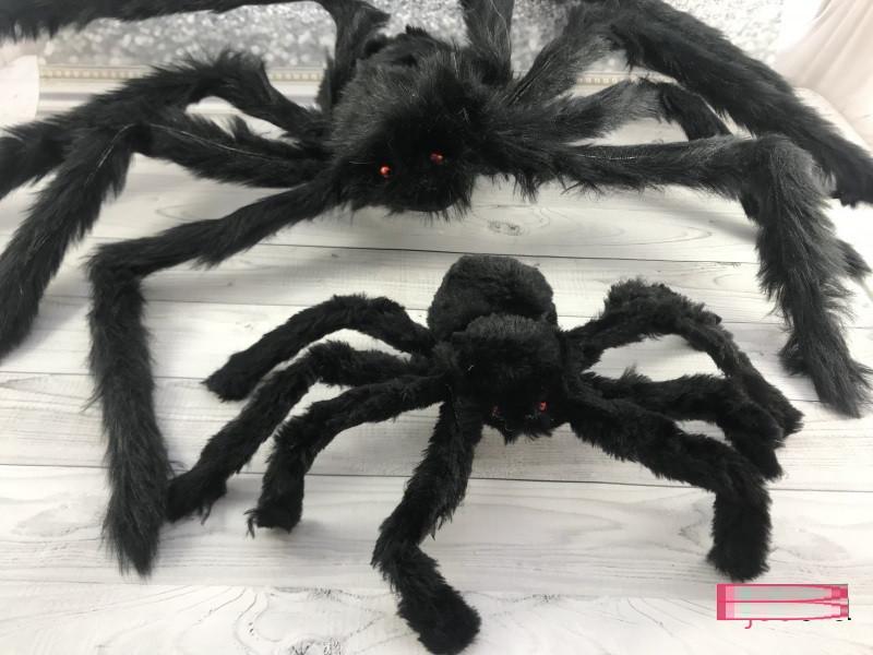 Паук черный 50 см, декор на Хэллоуин Halloween