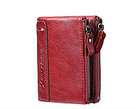 Кошелек портмоне мужской кожаный  (красный), фото 1