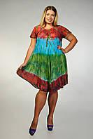 Платье - разлетайка (ламбада) с рукавом,коралл, голубой, зеленый, на 52-60 размеры