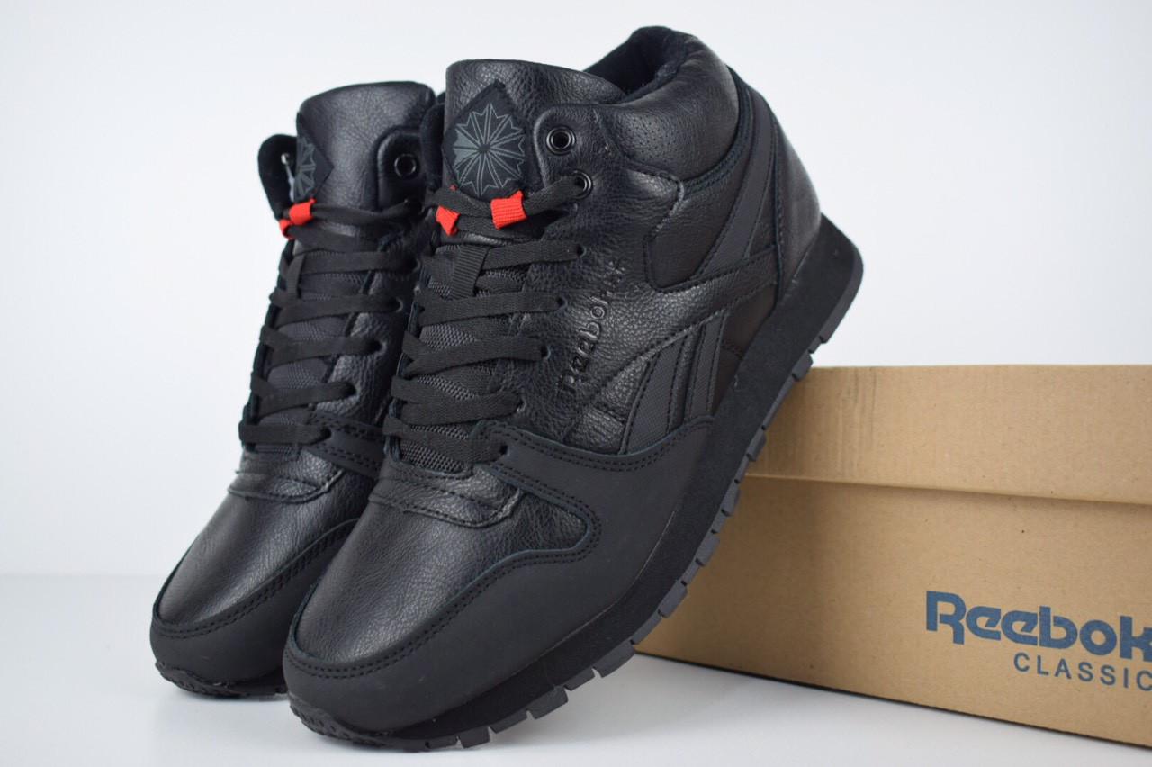 72292e66 Зимние мужские высокие кроссовки REEBOK с мехом черные реплика (живые фото)