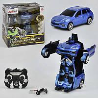 Машина-трансформер синяя на р/у с эффектами, на аккумуляторах, голубой, в коробке