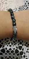 Браслет тонкий из Лабрадора Совушка, натуральный камень Код: Sb - 0104