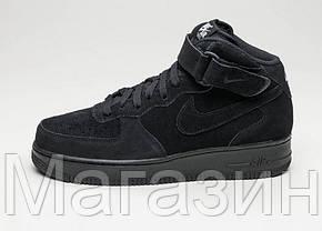 Мужские высокие кроссовки Nike Air Force замшевые Найк Аир Форс черные, фото 3
