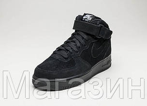 Мужские высокие кроссовки Nike Air Force замшевые Найк Аир Форс черные, фото 2