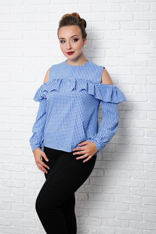 """Блакитна Жіноча блузка """"Діамант"""" р. 48-60 58"""