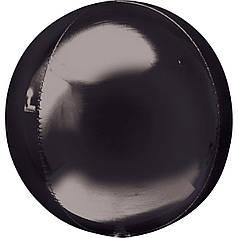 "Фол шар 16"" металлик Black черный  сфера 40см (Анаграм)"