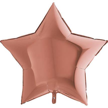 "Фол шар Grabo 36""/90см ЗВЕЗДА металлик розовое золото (Грабо), фото 2"
