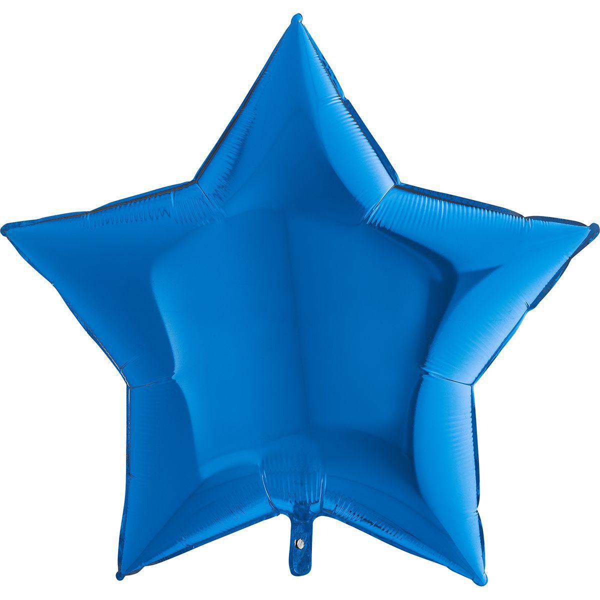 "Фол шар Grabo 36""/90см ЗВЕЗДА металлик синий (Грабо)"