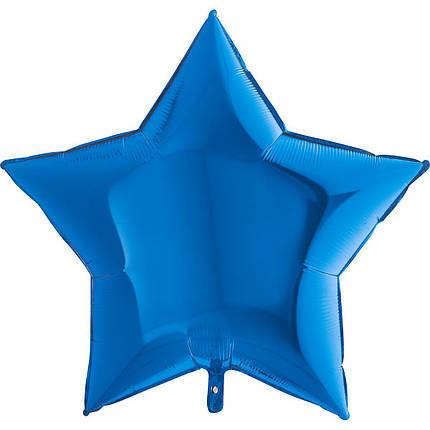 "Фол шар Grabo 36""/90см ЗВЕЗДА металлик синий (Грабо), фото 2"