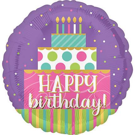 """Круг 18"""" ANAGRAM-АН Happy Birthday - торт со свечками (УП), фото 2"""