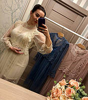 Женское элегантное платье с кружевом (3 цвета)