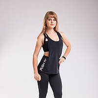 Майка Black Flywheel разлетайка боксерка спортивная черная push it, фото 1