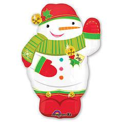 Фол шар фигура Снеговик в красной шапке Новый Год (Анаграм)