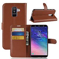 Чехол Samsung A605 / A6 Plus / A6 Plus 2018 книжка PU-Кожа коричневый