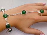 Зеленый оникс браслет с кольцом Жади с ониксом в серебре Индия, фото 2