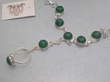Зеленый оникс браслет с кольцом Жади с ониксом в серебре Индия, фото 3