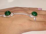 Зеленый оникс браслет с кольцом Жади с ониксом в серебре Индия, фото 6