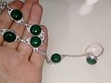 Зеленый оникс браслет с кольцом Жади с ониксом в серебре Индия, фото 5