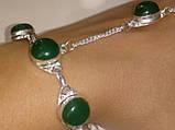 Зеленый оникс браслет с кольцом Жади с ониксом в серебре Индия, фото 4