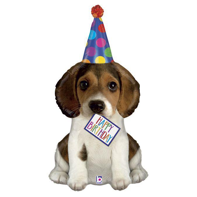 Фол шар фигура Щенок в колпаке Happy Birthday (Грабо)