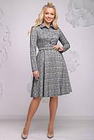 Женское серое платье в клетку, костюмка, размер 42, 44, 46, 48