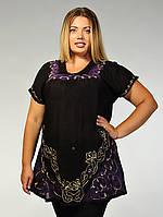 Блузка женская черная с фиолетовым батиком, батал, размер свободный, на 52-62 размеры