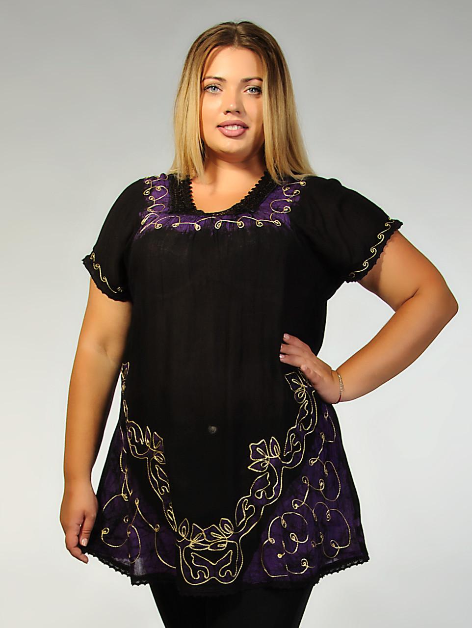 Блузка женская черная с фиолетовым батиком, батал, размер свободный, на 52-62 размеры, фото 1