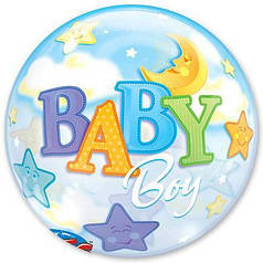 "Шар Bubble Бабл 22""/56 см Baby Boy Мальчик и луна (Qualatex)"