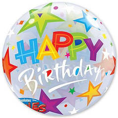 "Шар Bubble Бабл 22""/56 см ХБ Фейерверк Happy birthday (Qualatex)"