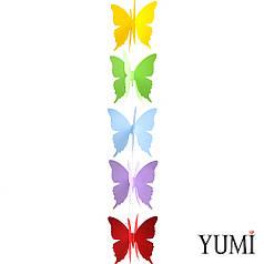 Гирлянда картон объемная Разноцветные Бабочки 1,5 м