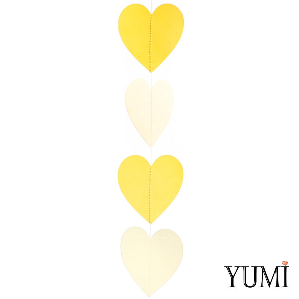 Декор: Гирлянда картон плоская Желтые и айвори сердца 1,5 м