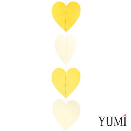 Декор: Гирлянда картон плоская Желтые и айвори сердца 1,5 м, фото 2