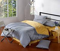 Комплект постельного белья Bella Villa сатин Евро серый с желтым