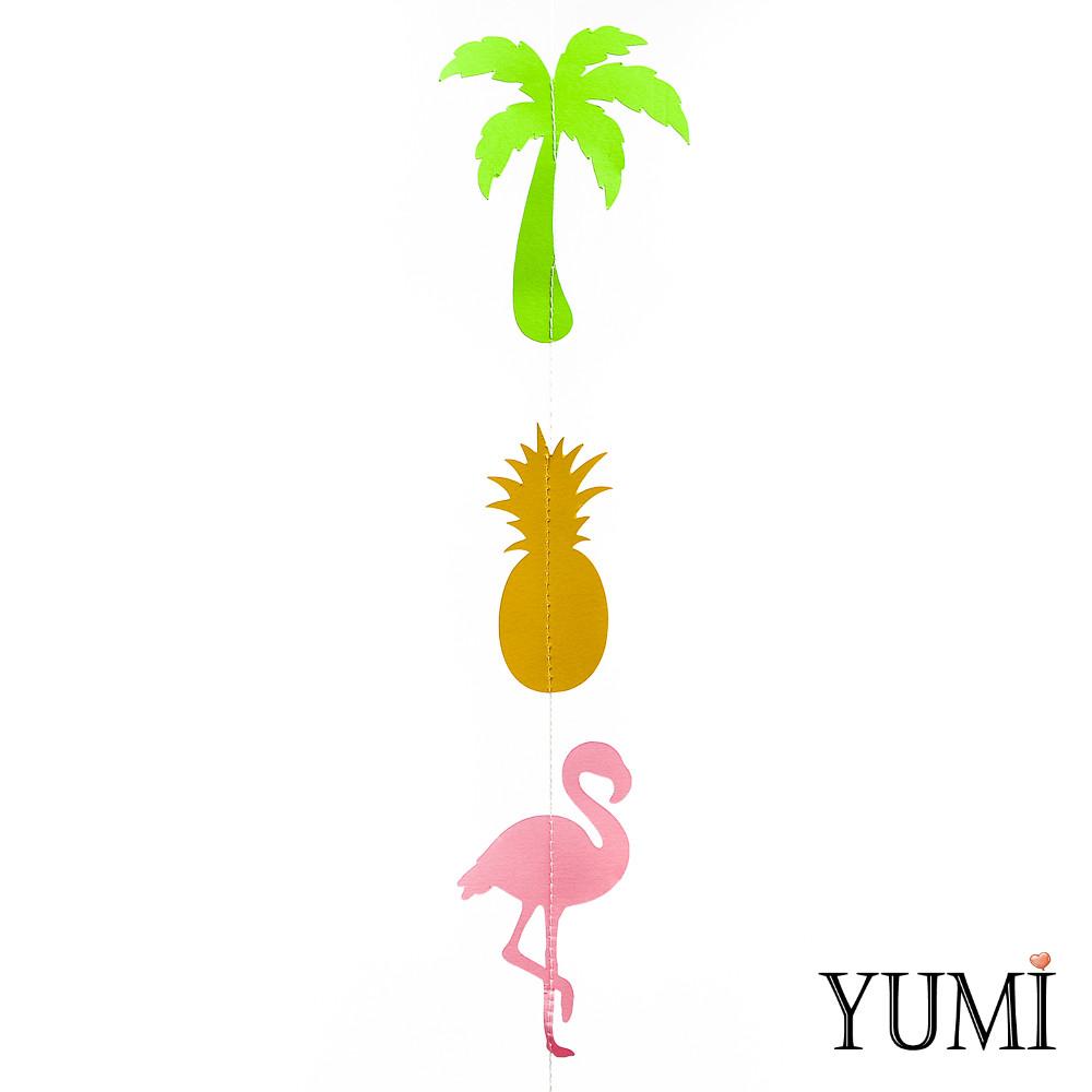 Декор: Гирлянда картон плоская Ананас, пальма, фламинго 1,5 м