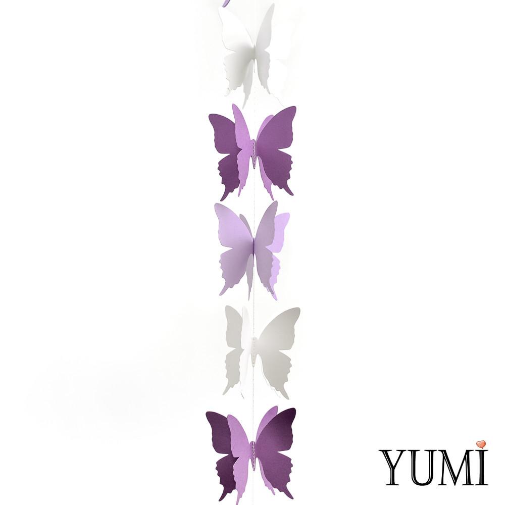 Декор: Гірлянда картон об'ємна Фіолетові, бузкові і білі метелики 1,5 м