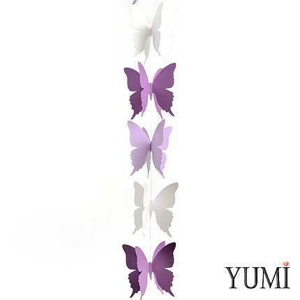 Декор: Гірлянда картон об'ємна Фіолетові, бузкові і білі метелики 1,5 м, фото 2