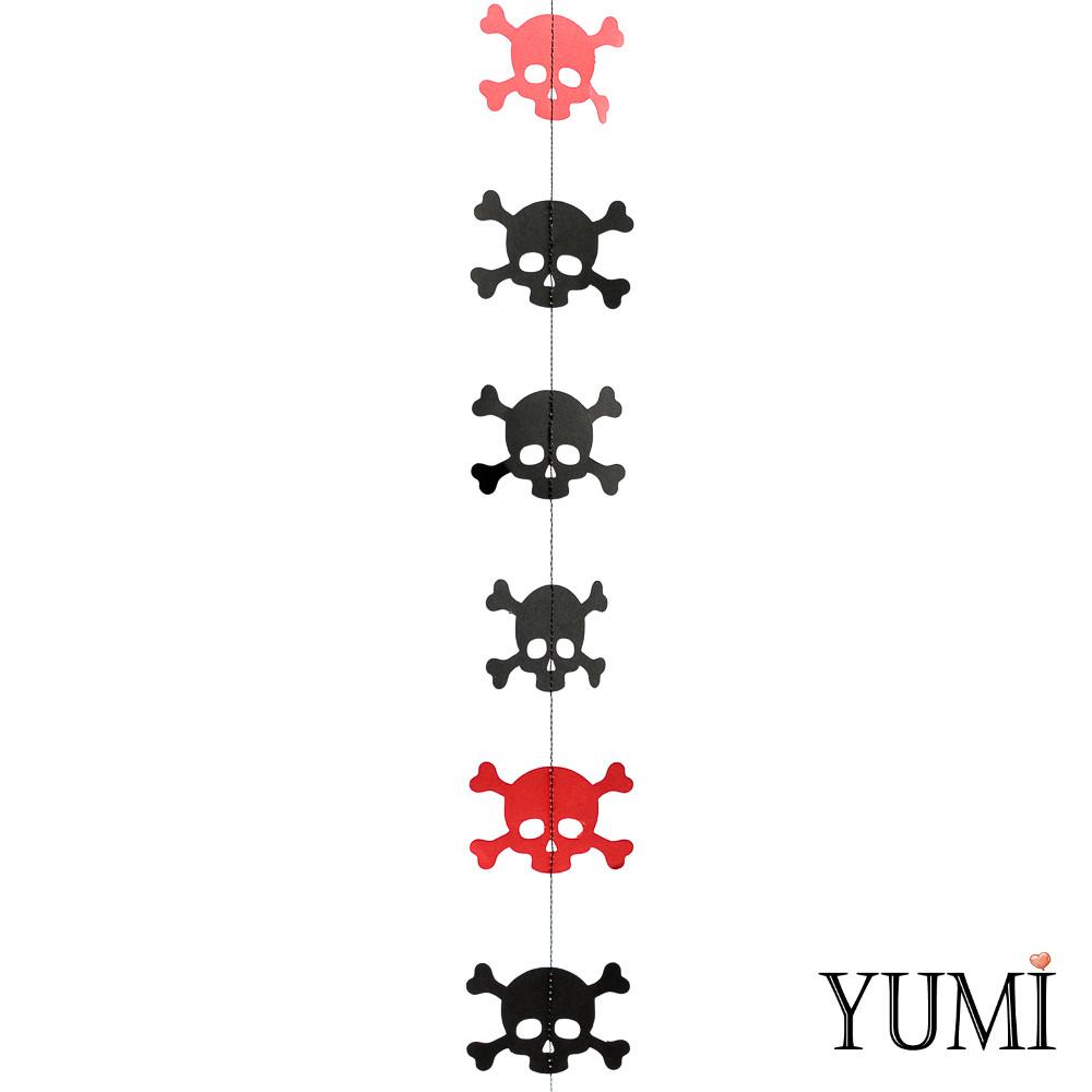 Декор: Гірлянда картон плоска Червоні і чорні черепа Пірати 1,5 м
